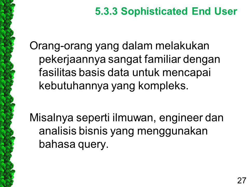5.3.3 Sophisticated End User Orang-orang yang dalam melakukan pekerjaannya sangat familiar dengan fasilitas basis data untuk mencapai kebutuhannya yan