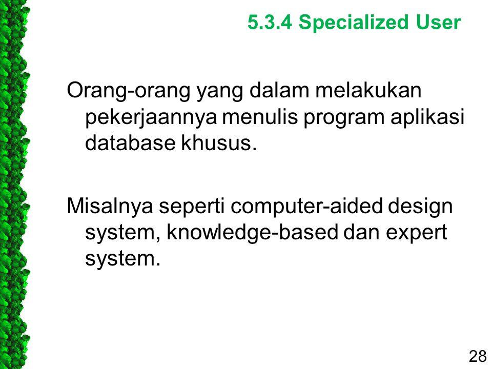 5.3.4 Specialized User Orang-orang yang dalam melakukan pekerjaannya menulis program aplikasi database khusus. Misalnya seperti computer-aided design