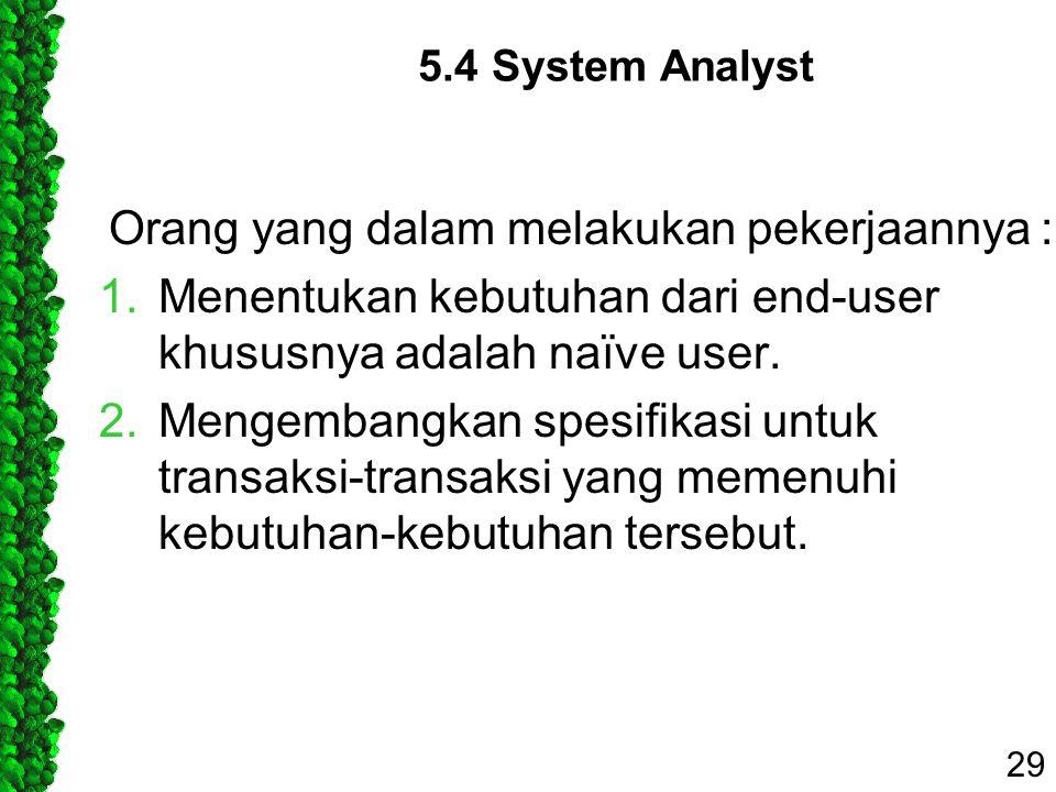 5.4 System Analyst Orang yang dalam melakukan pekerjaannya : 1.Menentukan kebutuhan dari end-user khususnya adalah naïve user. 2.Mengembangkan spesifi