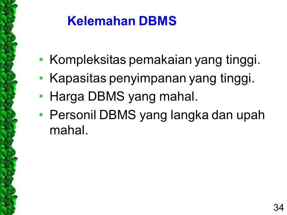 Kelemahan DBMS Kompleksitas pemakaian yang tinggi. Kapasitas penyimpanan yang tinggi. Harga DBMS yang mahal. Personil DBMS yang langka dan upah mahal.