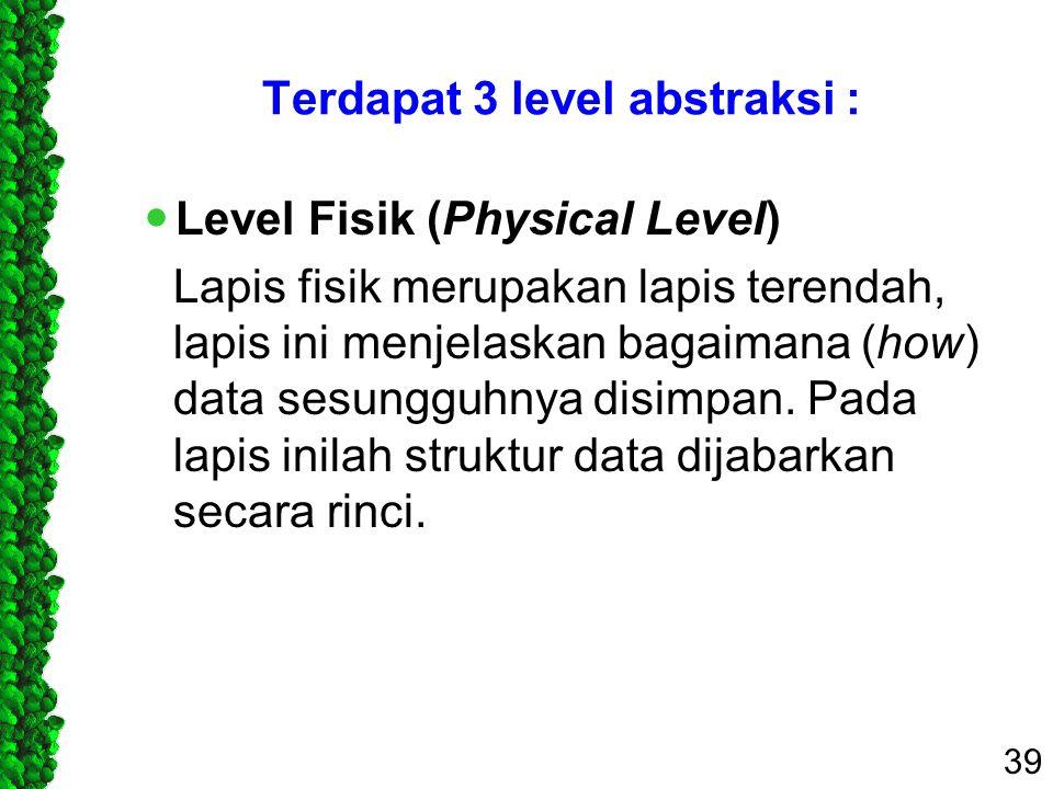 Terdapat 3 level abstraksi : Level Fisik (Physical Level) Lapis fisik merupakan lapis terendah, lapis ini menjelaskan bagaimana (how) data sesungguhny