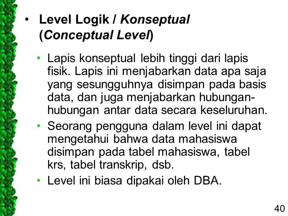 Level Logik / Konseptual (Conceptual Level) Lapis konseptual lebih tinggi dari lapis fisik. Lapis ini menjabarkan data apa saja yang sesungguhnya disi