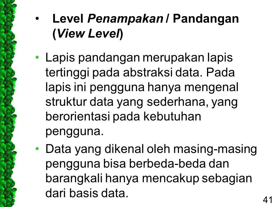 Level Penampakan / Pandangan (View Level) Lapis pandangan merupakan lapis tertinggi pada abstraksi data. Pada lapis ini pengguna hanya mengenal strukt