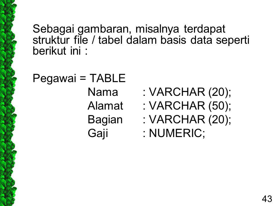 Sebagai gambaran, misalnya terdapat struktur file / tabel dalam basis data seperti berikut ini : Pegawai = TABLE Nama : VARCHAR (20); Alamat : VARCHAR