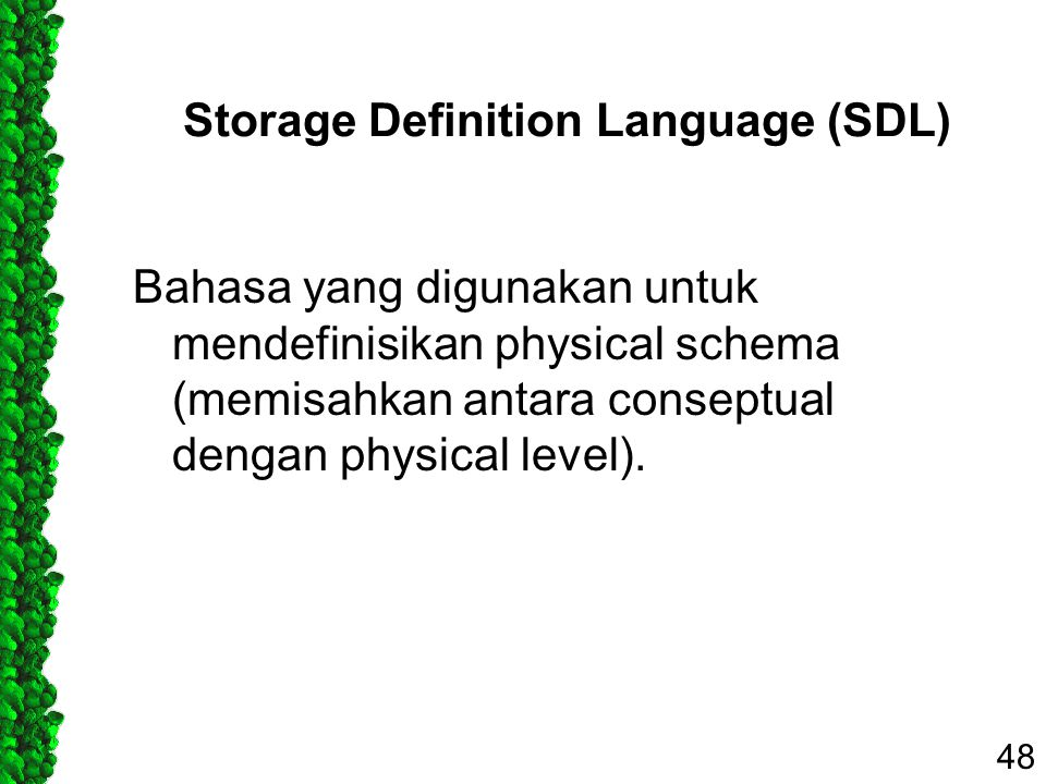 Storage Definition Language (SDL) Bahasa yang digunakan untuk mendefinisikan physical schema (memisahkan antara conseptual dengan physical level). 48