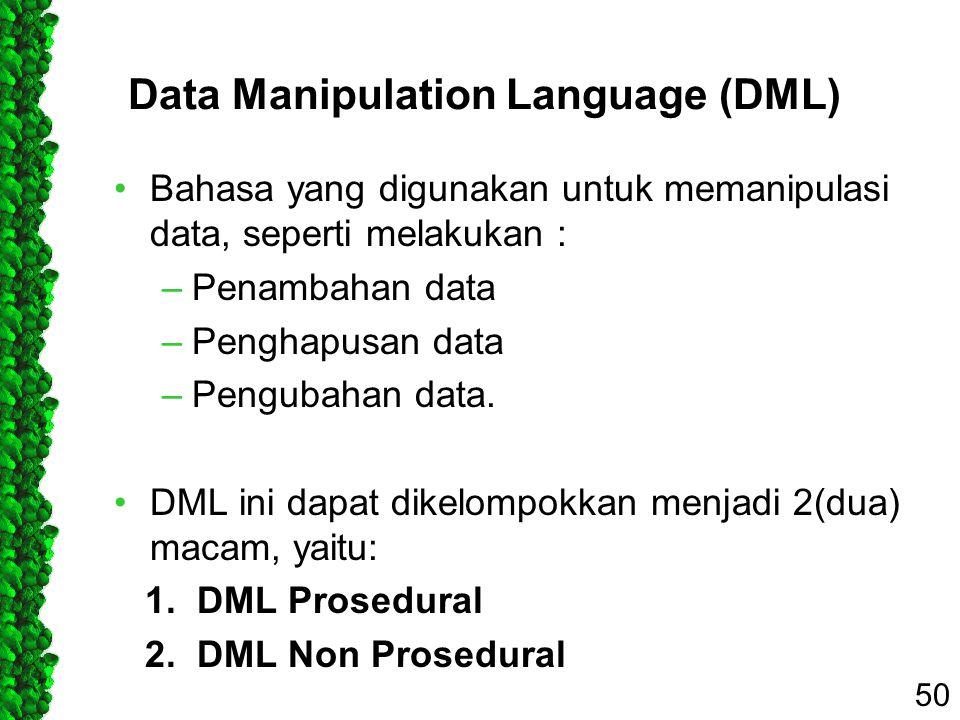 Data Manipulation Language (DML) Bahasa yang digunakan untuk memanipulasi data, seperti melakukan : –Penambahan data –Penghapusan data –Pengubahan dat