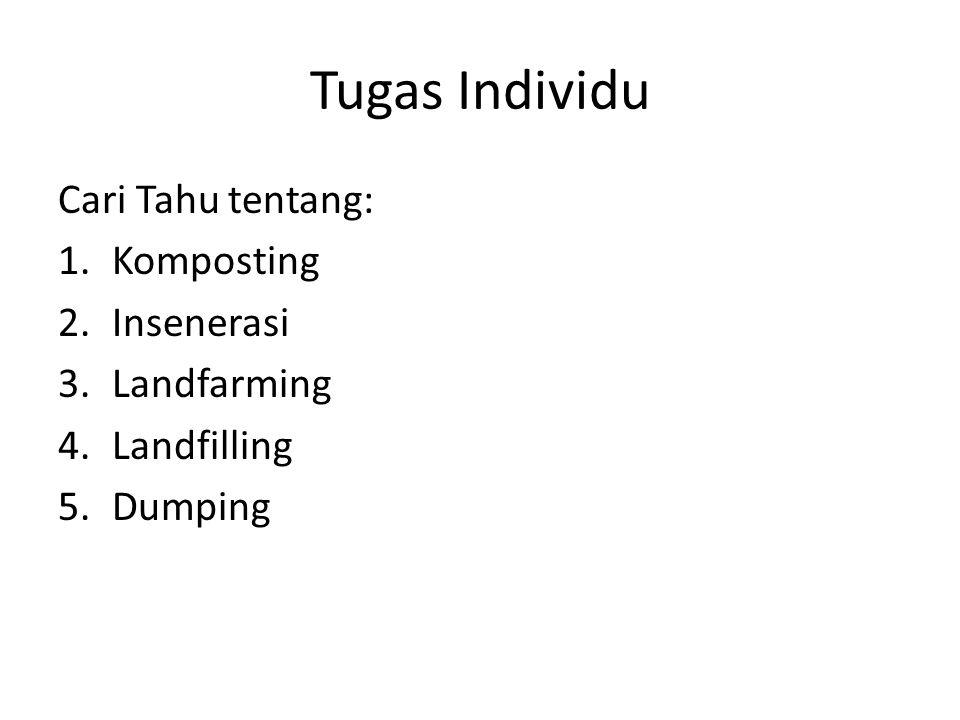 Tugas Individu Cari Tahu tentang: 1.Komposting 2.Insenerasi 3.Landfarming 4.Landfilling 5.Dumping