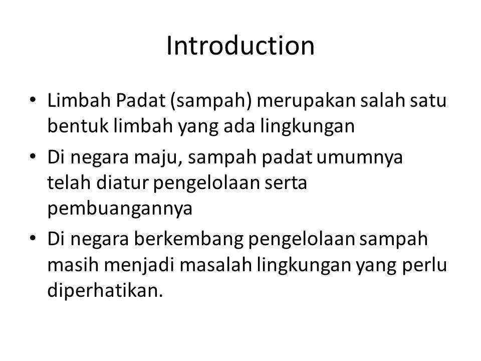 Introduction Limbah Padat (sampah) merupakan salah satu bentuk limbah yang ada lingkungan Di negara maju, sampah padat umumnya telah diatur pengelolaa