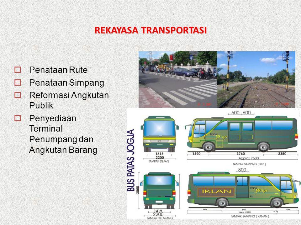 REKAYASA TRANSPORTASI  Penataan Rute  Penataan Simpang  Reformasi Angkutan Publik  Penyediaan Terminal Penumpang dan Angkutan Barang 27