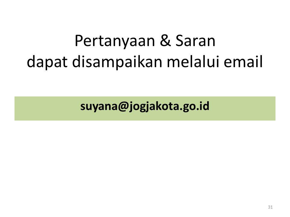 Pertanyaan & Saran dapat disampaikan melalui email suyana@jogjakota.go.id 31