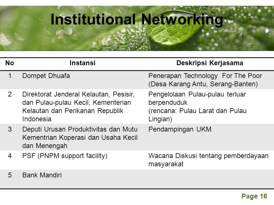 Powerpoint Templates Page 16 Institutional Networking NoInstansiDeskripsi Kerjasama 1Dompet DhuafaPenerapan Technology For The Poor (Desa Karang Antu,