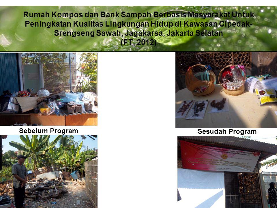Powerpoint Templates Page 9 Rumah Kompos dan Bank Sampah Berbasis Masyarakat Untuk Peningkatan Kualitas Lingkungan Hidup di Kawasan Cipedak- Srengseng Sawah, Jagakarsa, Jakarta Selatan (FT, 2012) Sebelum Program Sesudah Program