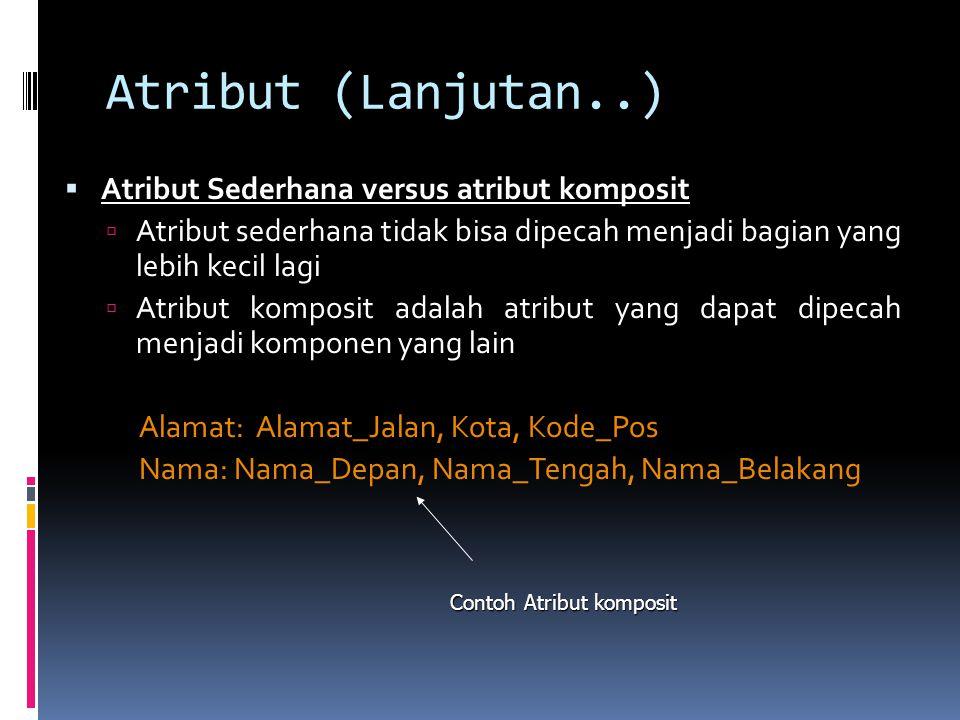 Atribut (Lanjutan..)  Atribut Sederhana versus atribut komposit  Atribut sederhana tidak bisa dipecah menjadi bagian yang lebih kecil lagi  Atribut