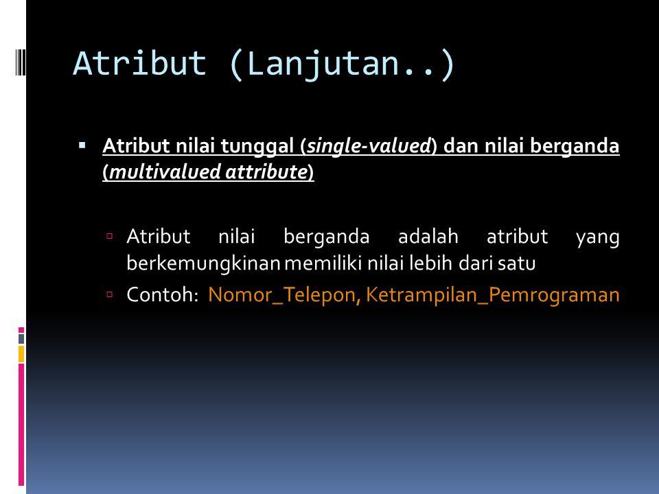 Atribut (Lanjutan..)  Atribut nilai tunggal (single-valued) dan nilai berganda (multivalued attribute)  Atribut nilai berganda adalah atribut yang b
