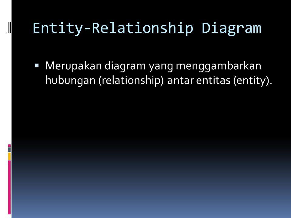 Entity-Relationship Diagram  Merupakan diagram yang menggambarkan hubungan (relationship) antar entitas (entity).