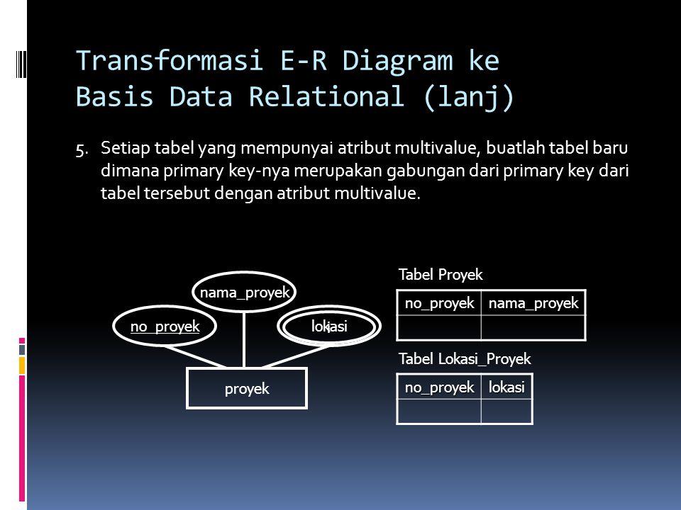 Transformasi E-R Diagram ke Basis Data Relational (lanj) 5.Setiap tabel yang mempunyai atribut multivalue, buatlah tabel baru dimana primary key-nya m