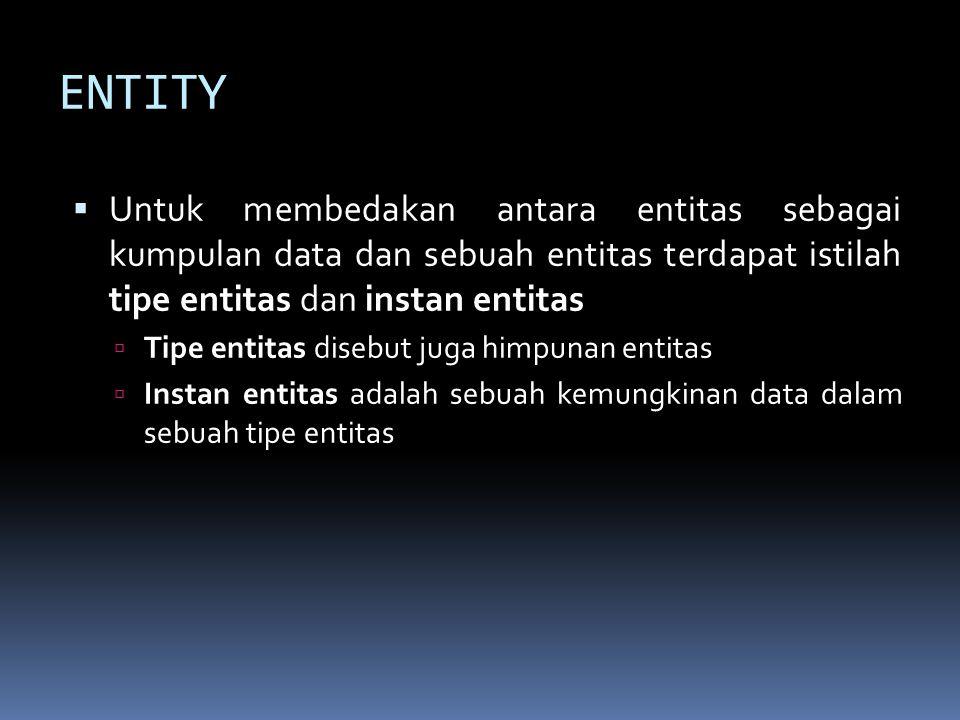 ENTITY  Untuk membedakan antara entitas sebagai kumpulan data dan sebuah entitas terdapat istilah tipe entitas dan instan entitas  Tipe entitas dise