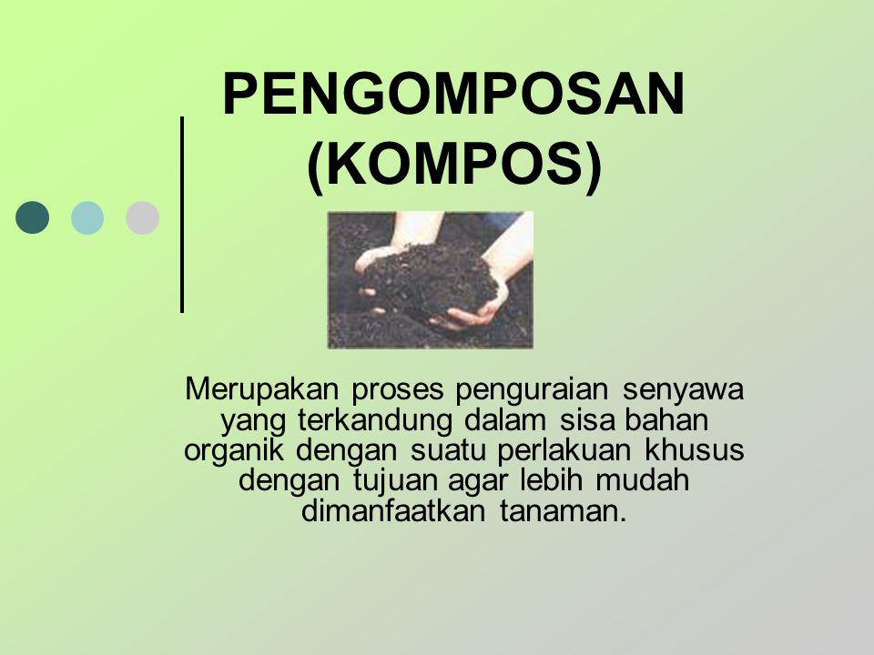 PENGOMPOSAN (KOMPOS) Merupakan proses penguraian senyawa yang terkandung dalam sisa bahan organik dengan suatu perlakuan khusus dengan tujuan agar leb