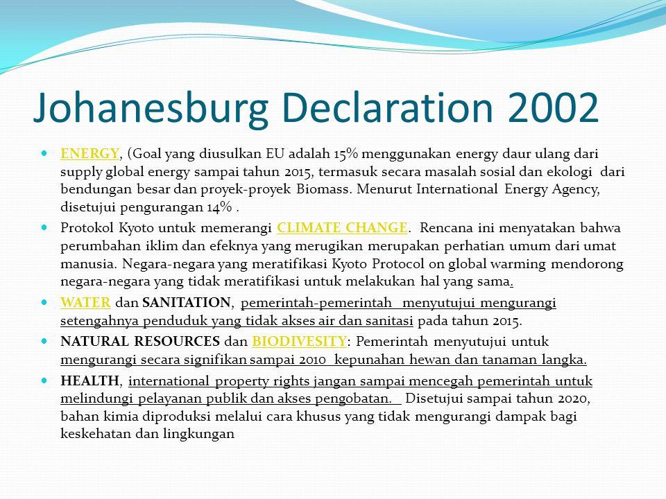 Johanesburg Declaration 2002 ENERGY, (Goal yang diusulkan EU adalah 15% menggunakan energy daur ulang dari supply global energy sampai tahun 2015, ter