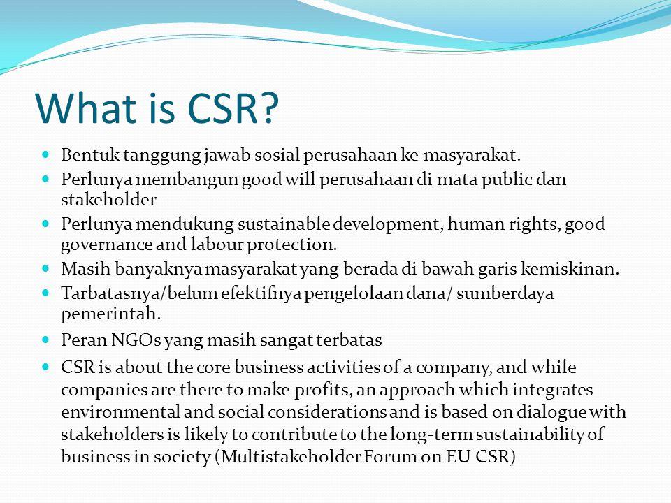 What is CSR? Bentuk tanggung jawab sosial perusahaan ke masyarakat. Perlunya membangun good will perusahaan di mata public dan stakeholder Perlunya me