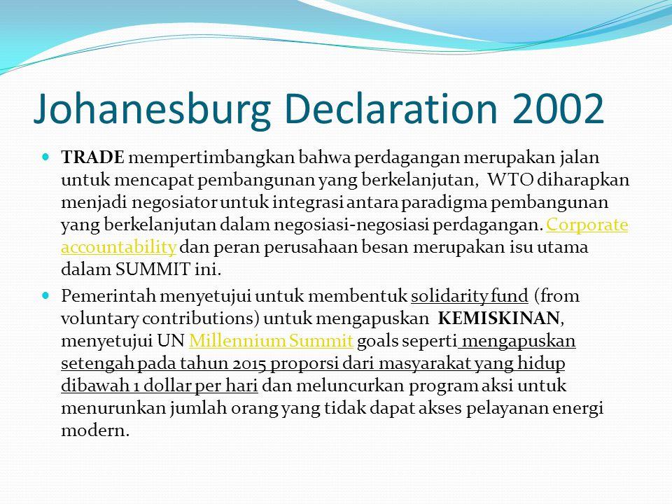 Johanesburg Declaration 2002 TRADE mempertimbangkan bahwa perdagangan merupakan jalan untuk mencapat pembangunan yang berkelanjutan, WTO diharapkan me