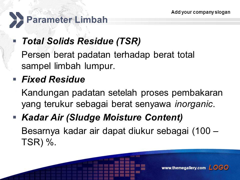 Add your company slogan LOGO Parameter Limbah  Total Solids Residue (TSR) Persen berat padatan terhadap berat total sampel limbah lumpur.