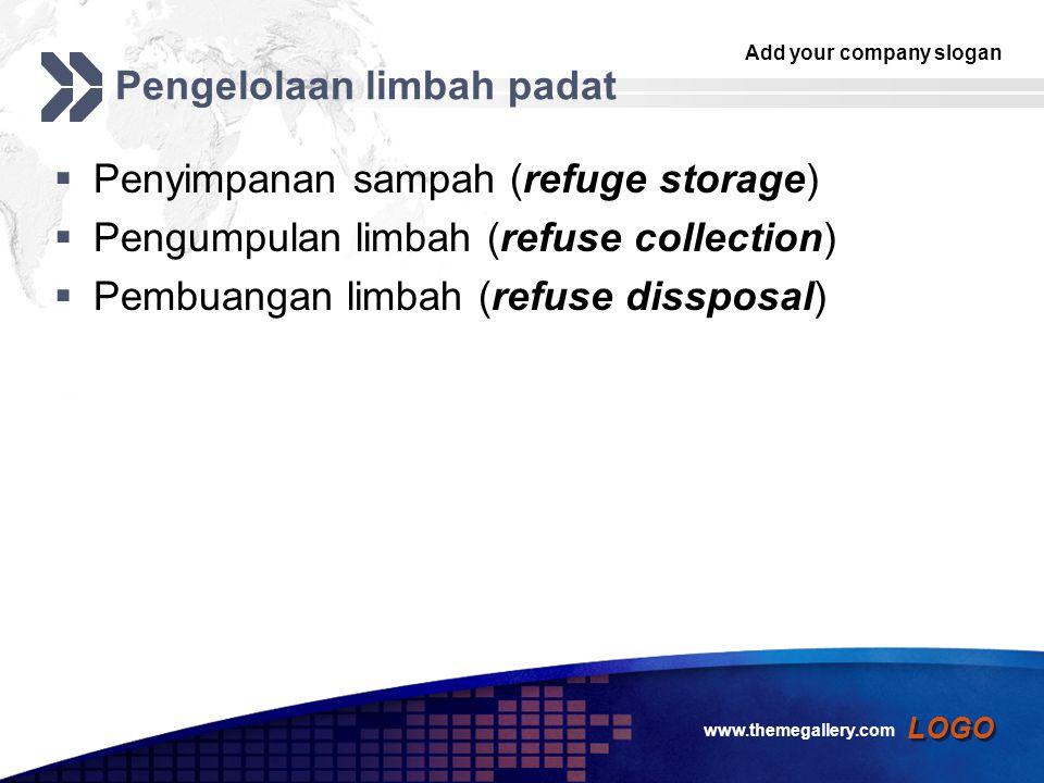 Add your company slogan LOGO Pengelolaan limbah padat  Penyimpanan sampah (refuge storage)  Pengumpulan limbah (refuse collection)  Pembuangan limbah (refuse dissposal) www.themegallery.com