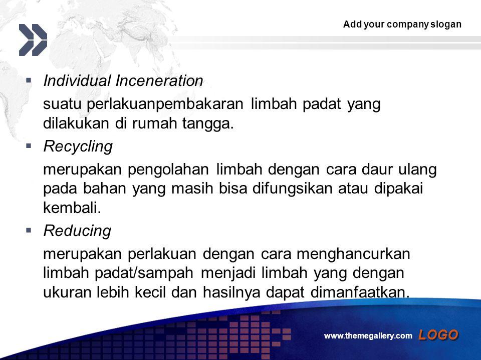 Add your company slogan LOGO  Individual Inceneration suatu perlakuanpembakaran limbah padat yang dilakukan di rumah tangga.