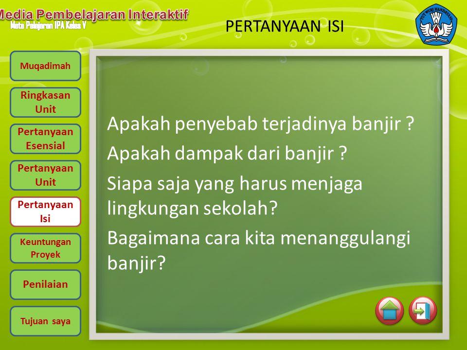 Muqadimah Ringkasan Unit Pertanyaan Esensial Pertanyaan Unit Pertanyaan Isi Keuntungan Proyek Penilaian Tujuan saya PERTANYAAN UNIT Apa yang yang terjadi pada musim hujan.