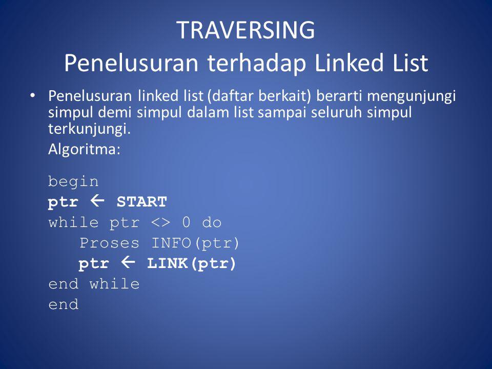 TRAVERSING Penelusuran terhadap Linked List Penelusuran linked list (daftar berkait) berarti mengunjungi simpul demi simpul dalam list sampai seluruh simpul terkunjungi.