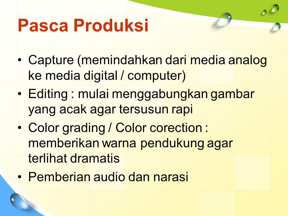 Pasca Produksi Capture (memindahkan dari media analog ke media digital / computer) Editing : mulai menggabungkan gambar yang acak agar tersusun rapi C