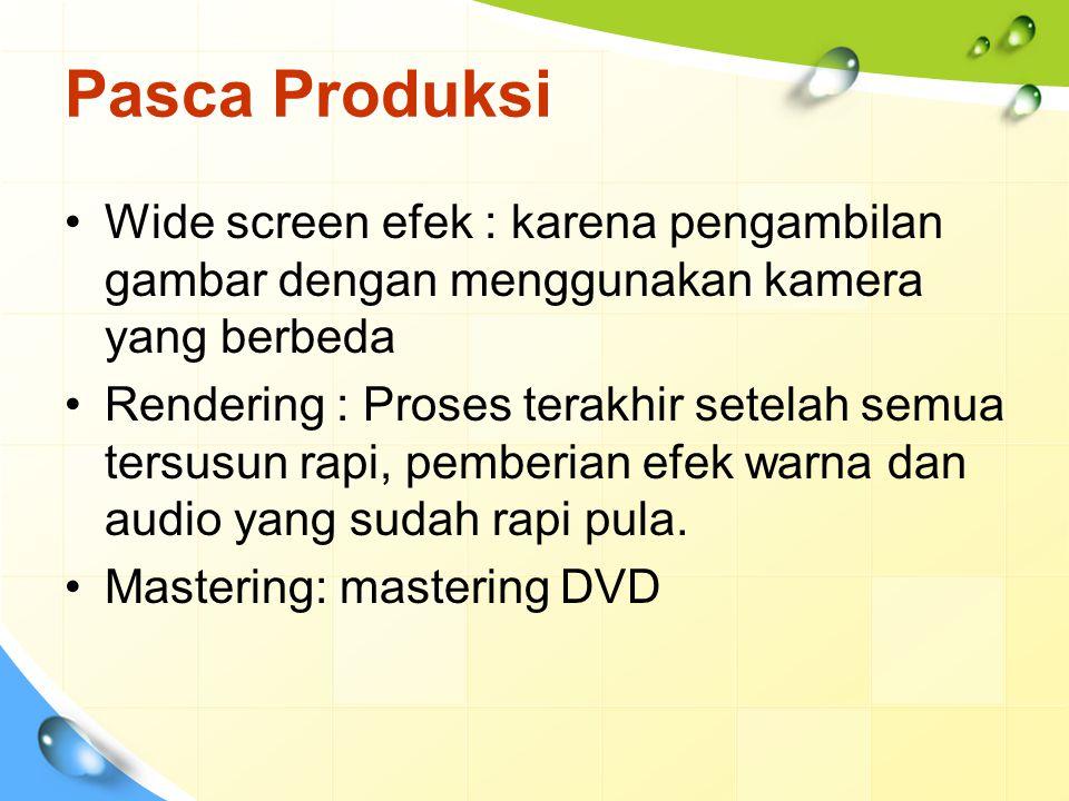 Pasca Produksi Wide screen efek : karena pengambilan gambar dengan menggunakan kamera yang berbeda Rendering : Proses terakhir setelah semua tersusun