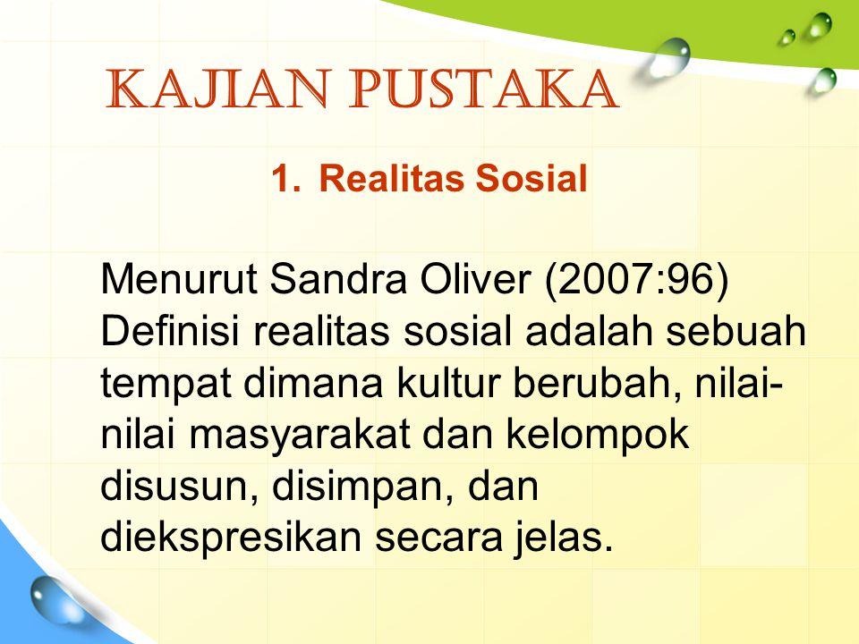 KAJIAN PUSTAKA 1.Realitas Sosial Menurut Sandra Oliver (2007:96) Definisi realitas sosial adalah sebuah tempat dimana kultur berubah, nilai- nilai mas
