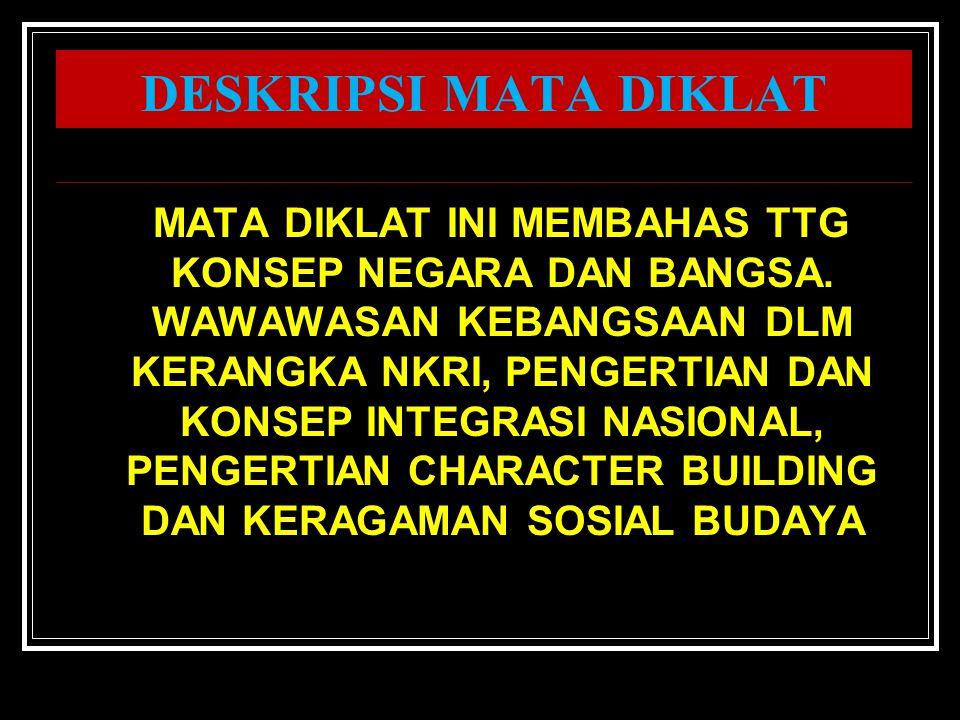 WAWASAN KEBANGSAAN DALAM KERANGKA NEGARA KESATUAN REPUBLIK INDONESIA PUSDIKLAT PEGAWAI, DEPDIKNAS 2009