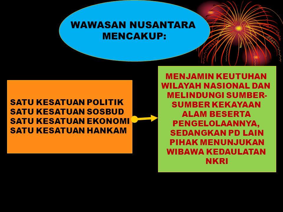 WAWASAN NUSANTARA PANDANGAN YG MENYATAKAN BHW NEGARA INDONESIA MRP SUATU KESATUAN DIPANDANG DARI SGL ASPEKNYA PANDANGAN HIDUP BANGSA INDONESIA DLM MEN