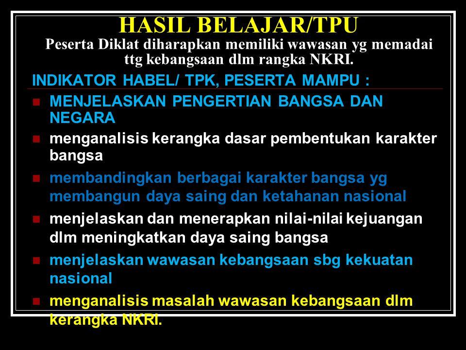 HASIL BELAJAR/ TPU peserta Diklat diharapkan memiliki wawasan yang memadai tentang kebangsaan dalam rangka NKRI.
