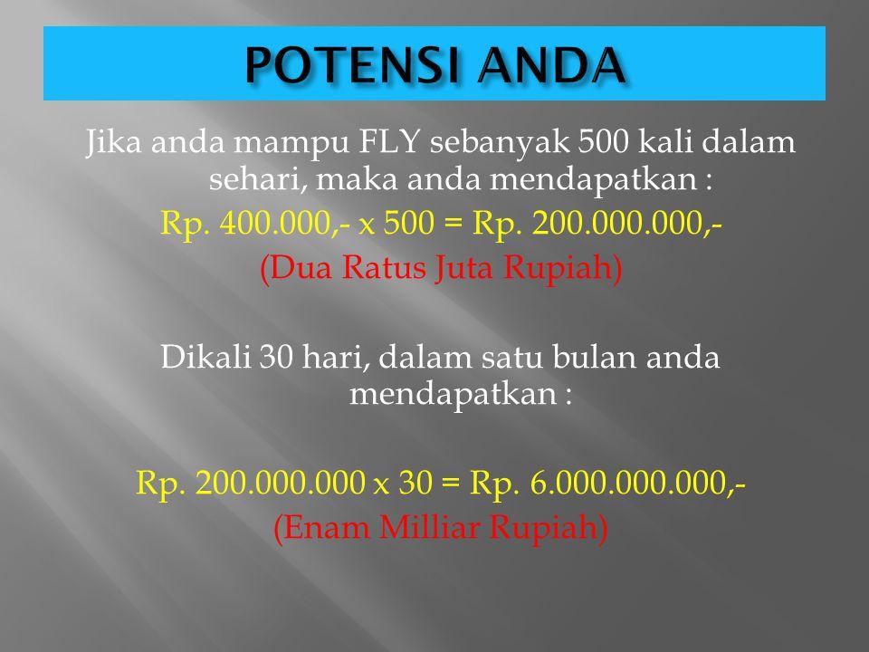 EF Anda Total Bonus Anda B. FLY = 1 x Rp. 200.000,- MATCHING 2 x Rp.