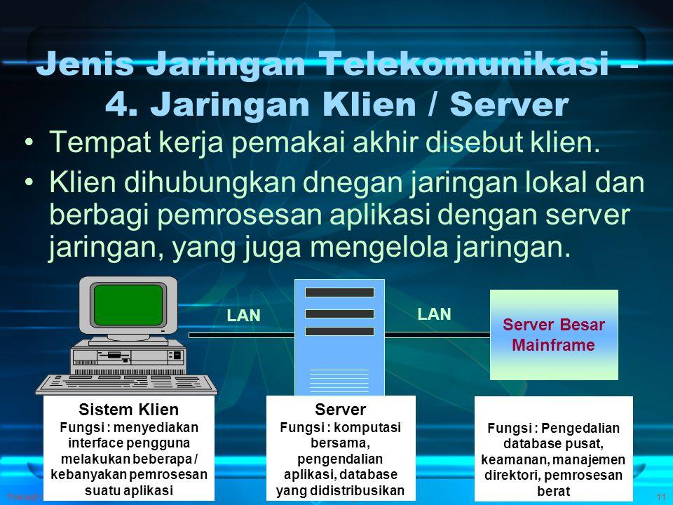 Trisnadi Wijaya, SE, S.Kom Pengantar SI11 Jenis Jaringan Telekomunikasi – 4. Jaringan Klien / Server Tempat kerja pemakai akhir disebut klien. Klien d
