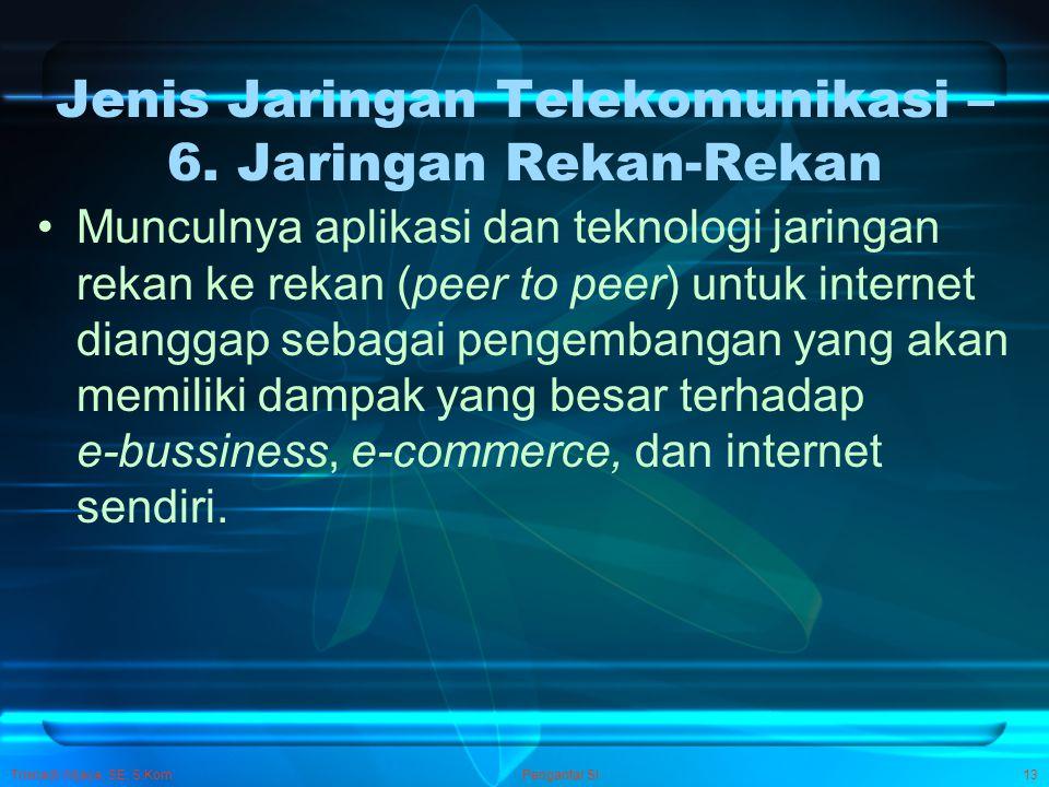 Trisnadi Wijaya, SE, S.Kom Pengantar SI13 Jenis Jaringan Telekomunikasi – 6. Jaringan Rekan-Rekan Munculnya aplikasi dan teknologi jaringan rekan ke r