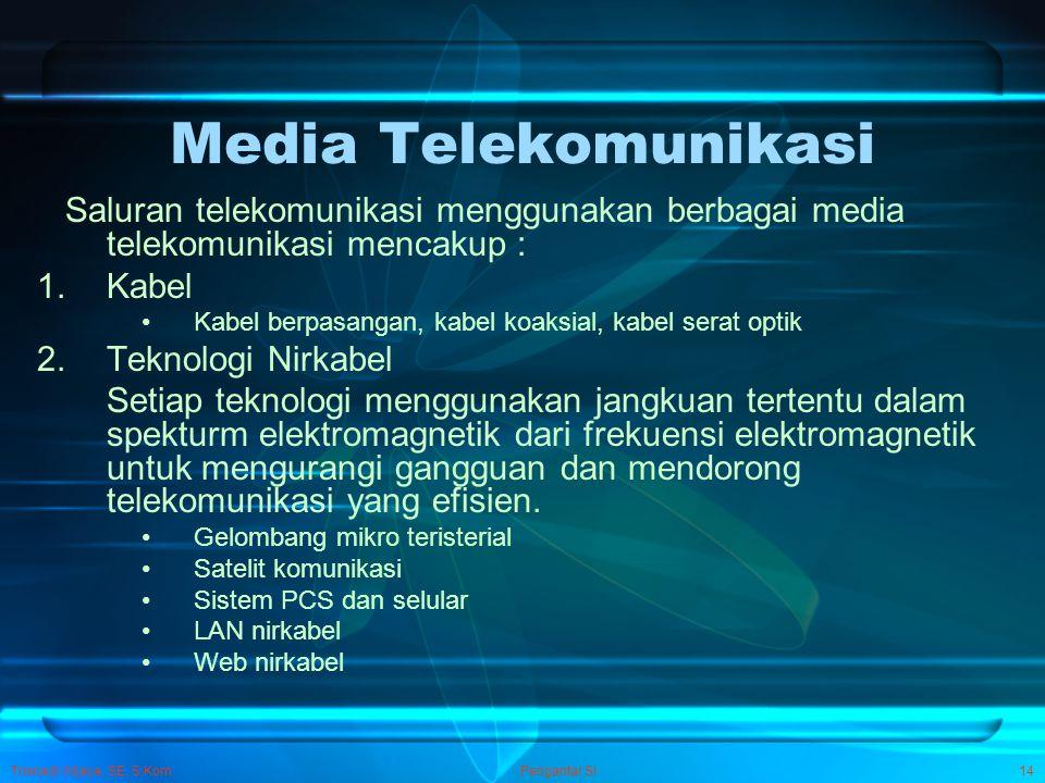 Trisnadi Wijaya, SE, S.Kom Pengantar SI14 Media Telekomunikasi Saluran telekomunikasi menggunakan berbagai media telekomunikasi mencakup : 1.Kabel Kab