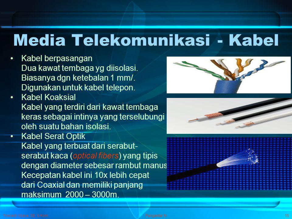 Trisnadi Wijaya, SE, S.Kom Pengantar SI15 Media Telekomunikasi - Kabel Kabel berpasangan Dua kawat tembaga yg diisolasi. Biasanya dgn ketebalan 1 mm/.