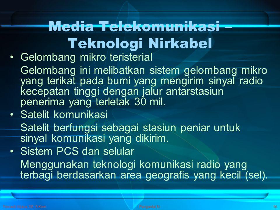 Trisnadi Wijaya, SE, S.Kom Pengantar SI16 Media Telekomunikasi – Teknologi Nirkabel Gelombang mikro teristerial Gelombang ini melibatkan sistem gelomb