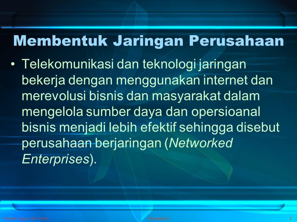 Pengantar SI2 Membentuk Jaringan Perusahaan Telekomunikasi dan teknologi jaringan bekerja dengan menggunakan internet dan merevolusi bisnis dan masyar