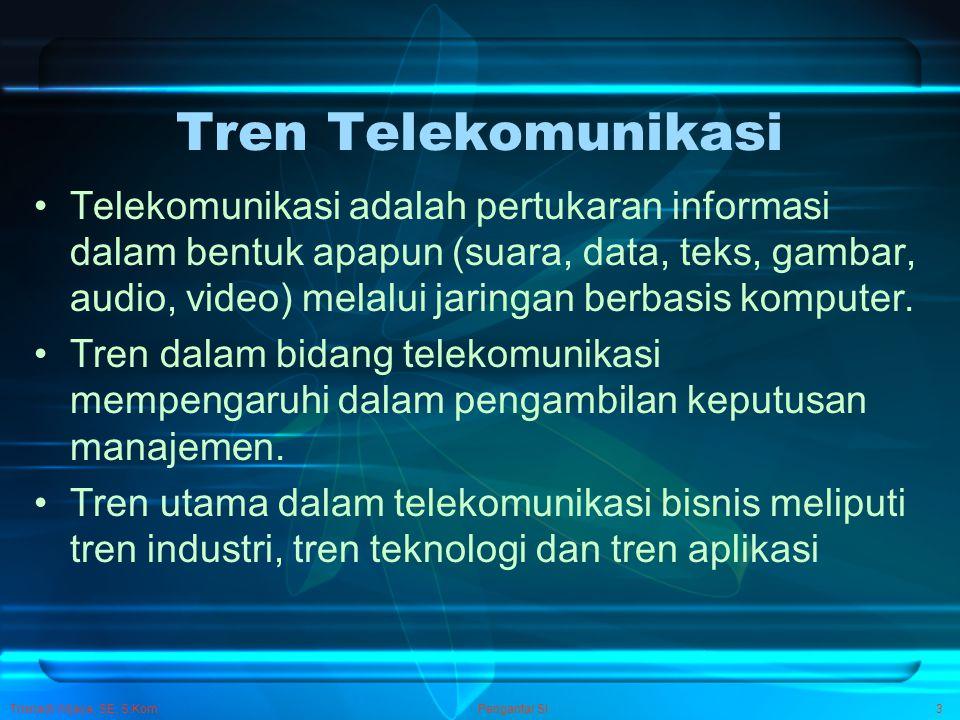 Trisnadi Wijaya, SE, S.Kom Pengantar SI3 Tren Telekomunikasi Telekomunikasi adalah pertukaran informasi dalam bentuk apapun (suara, data, teks, gambar