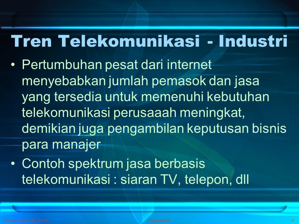 Trisnadi Wijaya, SE, S.Kom Pengantar SI4 Tren Telekomunikasi - Industri Pertumbuhan pesat dari internet menyebabkan jumlah pemasok dan jasa yang terse