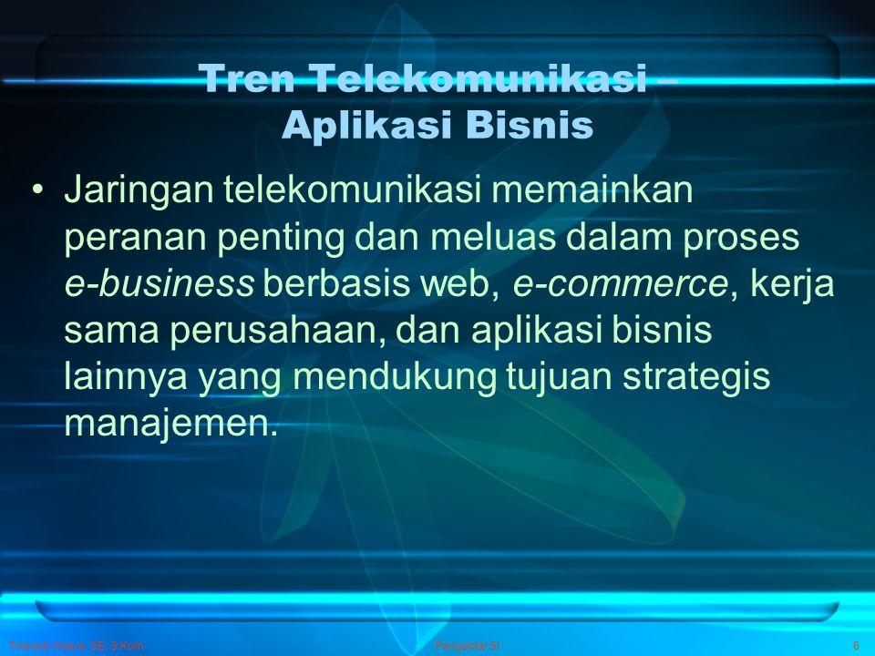 Trisnadi Wijaya, SE, S.Kom Pengantar SI6 Tren Telekomunikasi – Aplikasi Bisnis Jaringan telekomunikasi memainkan peranan penting dan meluas dalam pros