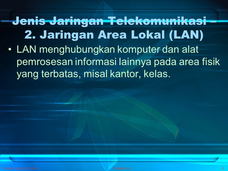 Trisnadi Wijaya, SE, S.Kom Pengantar SI9 Jenis Jaringan Telekomunikasi – 2. Jaringan Area Lokal (LAN) LAN menghubungkan komputer dan alat pemrosesan i