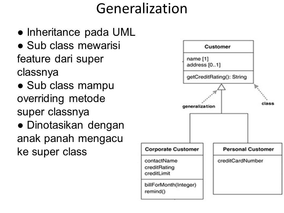 Generalization ● Inheritance pada UML ● Sub class mewarisi feature dari super classnya ● Sub class mampu overriding metode super classnya ● Dinotasika