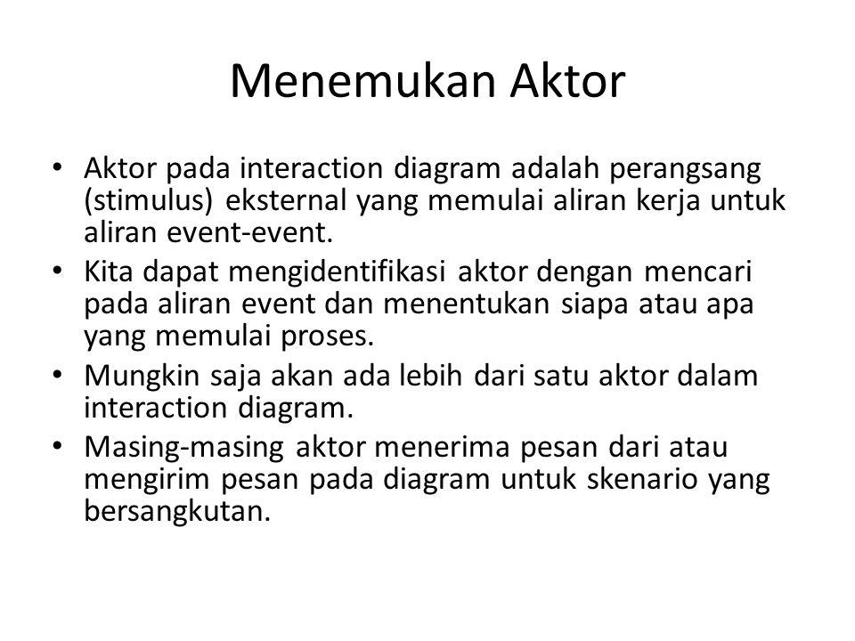 Menemukan Aktor Aktor pada interaction diagram adalah perangsang (stimulus) eksternal yang memulai aliran kerja untuk aliran event-event. Kita dapat m