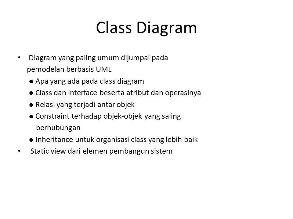 Class Diagram Diagram yang paling umum dijumpai pada pemodelan berbasis UML ● Apa yang ada pada class diagram ● Class dan interface beserta atribut da